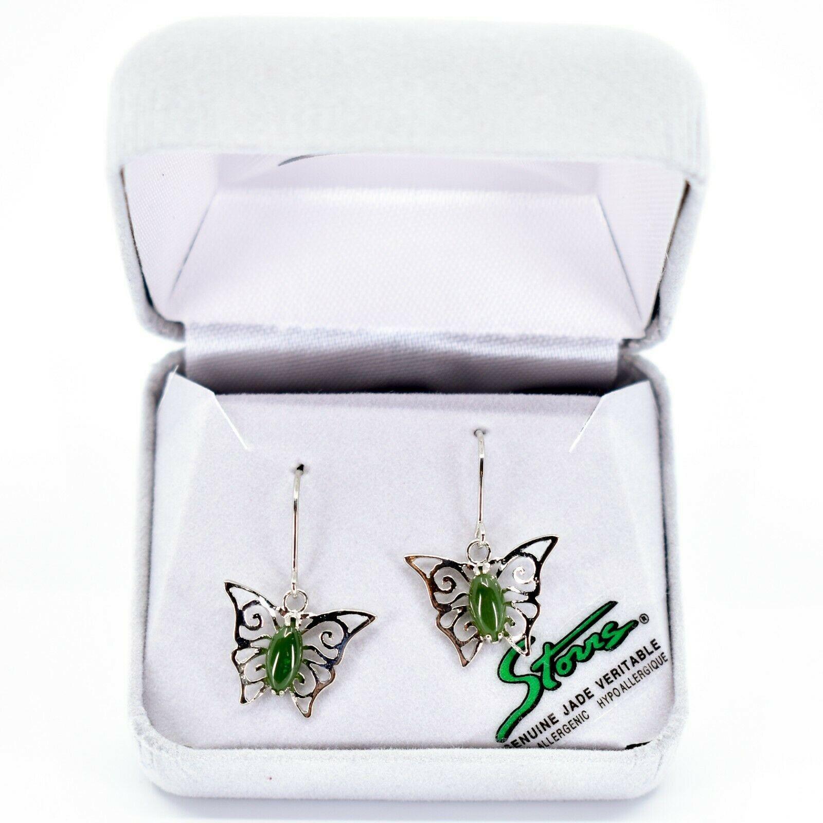 Storrs Genuine Jade Veritable Filigree Butterfly Hook Earrings