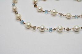 925 Silver Necklace Laminate Rose Gold with Quartz pearls and aquamarines image 9