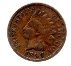 1897  Indian Head Cent Circulated abt Very Fiine - $5.99
