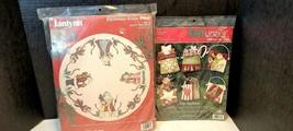 Lot Of 2 Janlynn 1988 Christmas Cross Stitch & Feltworks Applique Holida... - $54.20