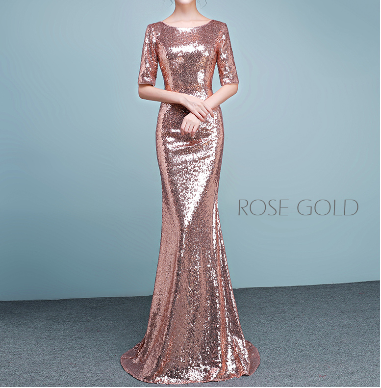 Half Sleeve Fit Gold Maxi Sequin Dress Wedding Party Maxi Gold Sequin Dress Gown
