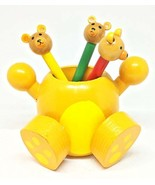Wood Colored Pencil Holder with Pencils (Bear) - £10.51 GBP