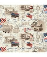 All-American Road Trip-U.S. Map-Tan B/G-Fat 1/4-Studio E-Route 66-Americ... - $3.25