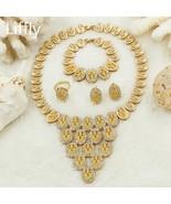 Dubai Gold Wedding Jewelry Pendant Necklace Earrings Jewellery Crystal D... - $38.68