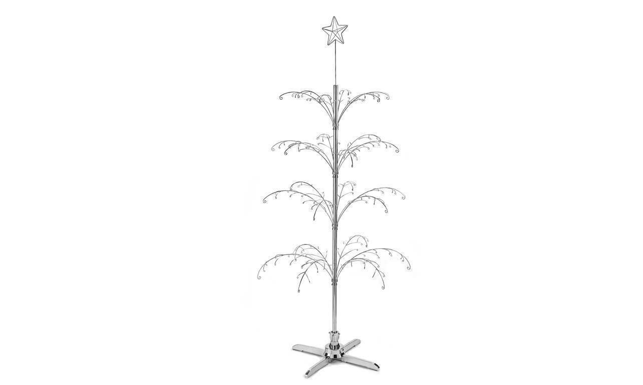 """78"""" Silver Revolving Wire Tree Christmas Ornaments Hanging Collectibles Retail"""