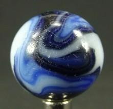 "vintage AKRO AGATE SHOOTER marble 7/8"" rare old blue white ESTATE SALE b... - $23.36"