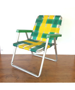 Vintage Childs Lawn Chair Aluminum Folding Webbed Yellow Green By Packer... - $49.45