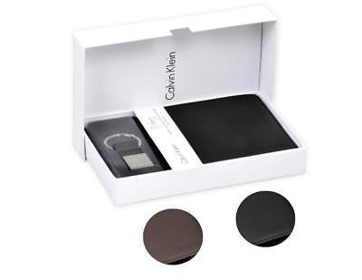 Calvin Klein Ck Men's Leather Key Fob Coin Wallet Keychain Gift Box Set 79349