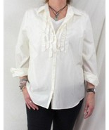 J Jill XL size Blouse New Cream Ivory Ruffled Career Casual Lightweight ... - $48.50