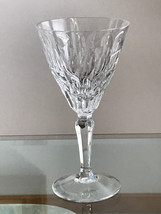 Facet Cut Clear Crystal Wine / Water Goblet Glasses Polygon Cut Stemware - $8.99
