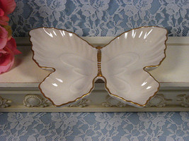 Vintage Lenox China Butterfly Giftware Divided Dish, Decorative Porcelai... - $29.99