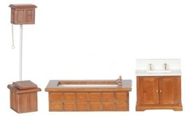 Dollhouse Miniature Victorian Bath Set, 3 Pc, Walnut Finish #D6406 - $40.84