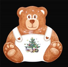 NIKKO CHRISTMASTIME Teddy Bear Christmas Tree Ceramic Platter Plate NIB HTF - $22.99