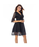 Black Mini Length Flowy Cut Hemline Dress Lace Overlay - Free Shipping - US - €27,16 EUR