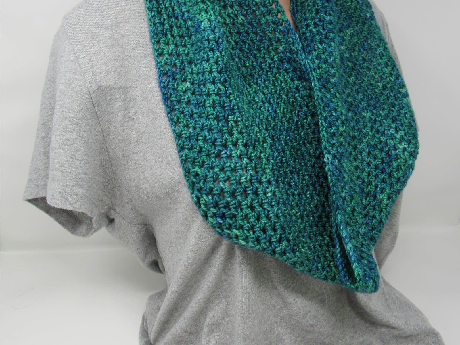 Handcrafted Crocheted Cowl Green/Teal Textured Merino Wool Female Adult