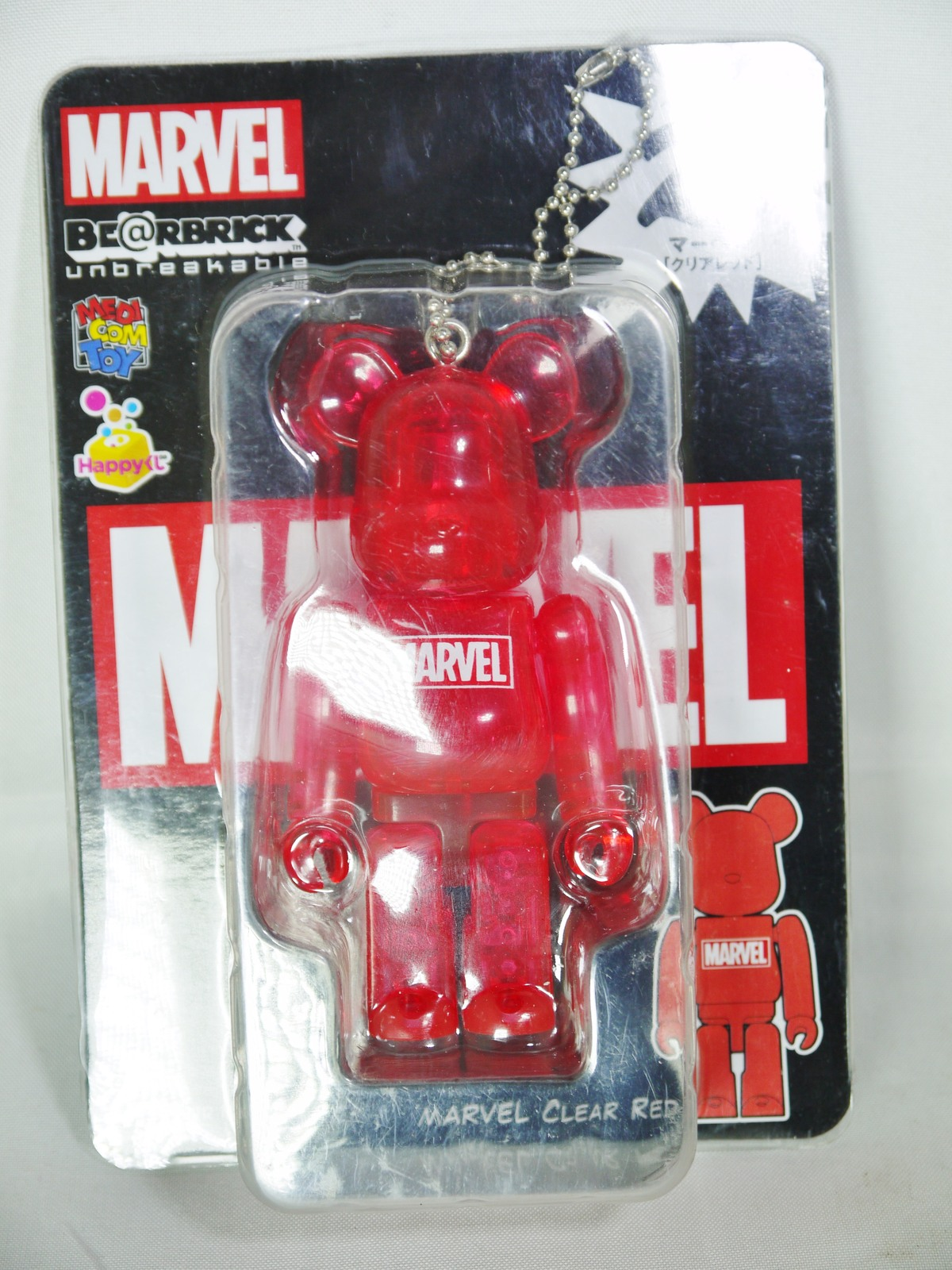 Medicom Toy Bearbrick Be@rbrick unbreakable 100% MARVEL Comic Logo Clear Red