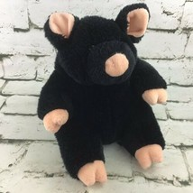 The Manhattan Toy Company Black Pig Plush W/Curly Tail Stuffed Animal VTG Rare - $39.59