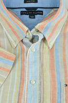 Tommy Hilfiger Men's Brown Orange & Blue Pure Linen Casual Shirt XL XLarge - $19.12