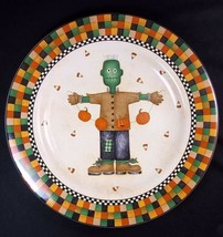 "Debbie Mumm HALLOWEEN Salad plate Monster Scarecrow Sakura 8"" 1998  - $9.70"
