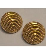 VTG 80s LES BERNARD Haute Couture Chunky Heavy Ridged Domed Gold Clip Ea... - $32.50