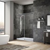 """44-48""""Wx76""""H Frameless Sliding Shower Door ULTRA-C Matte Black by LessCare - $891.98"""