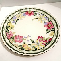 Andrea by Sadek White Footed Cake Plate Floral Pattern Many Iris - £19.43 GBP