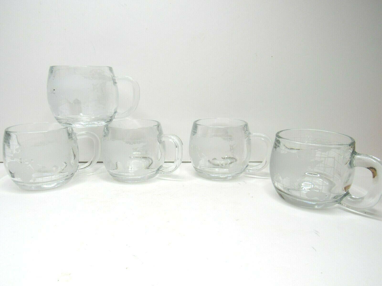 5 VTG Nestle Nescafe Etched Clear Heavy Glass World Globe Coffee Mugs Tea Cups  - $24.42
