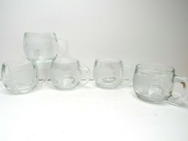 5 VTG Nestle Nescafe Etched Clear Heavy Glass World Globe Coffee Mugs Te... - $24.42