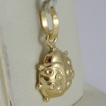 18K YELLOW GOLD ROUNDED LADYBUG PENDANT CHARM 18MM SMOOTH LADYBIRD MADE IN ITALY image 2