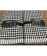 (4) DKNY Bathroom Black  White Dot Hand Towels ~NEW ~ - $50.00