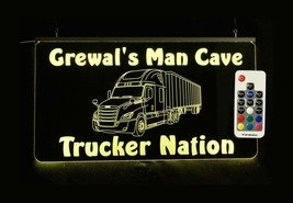 Personalized LED Semi Truck Sign - Tractor Trailer Man cave Sign - $96.03+