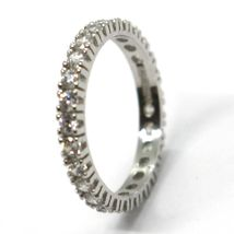 White Gold Ring 750 18K, Eternity, 4 Tips, Thickness 3 mm, Zircon Cubic image 3