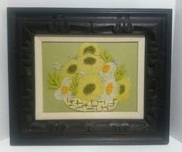 Basket of Flowers 70's Crewel embroidery finished with heavy thick wood ... - $69.90