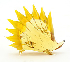 Murano Style Art Glass Hedgehog Figurine Yellow - $14.85