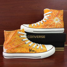 Original Design Fruit Tangerine Flesh Converse All Star Hand Painted Canvas Shoe - $155.00