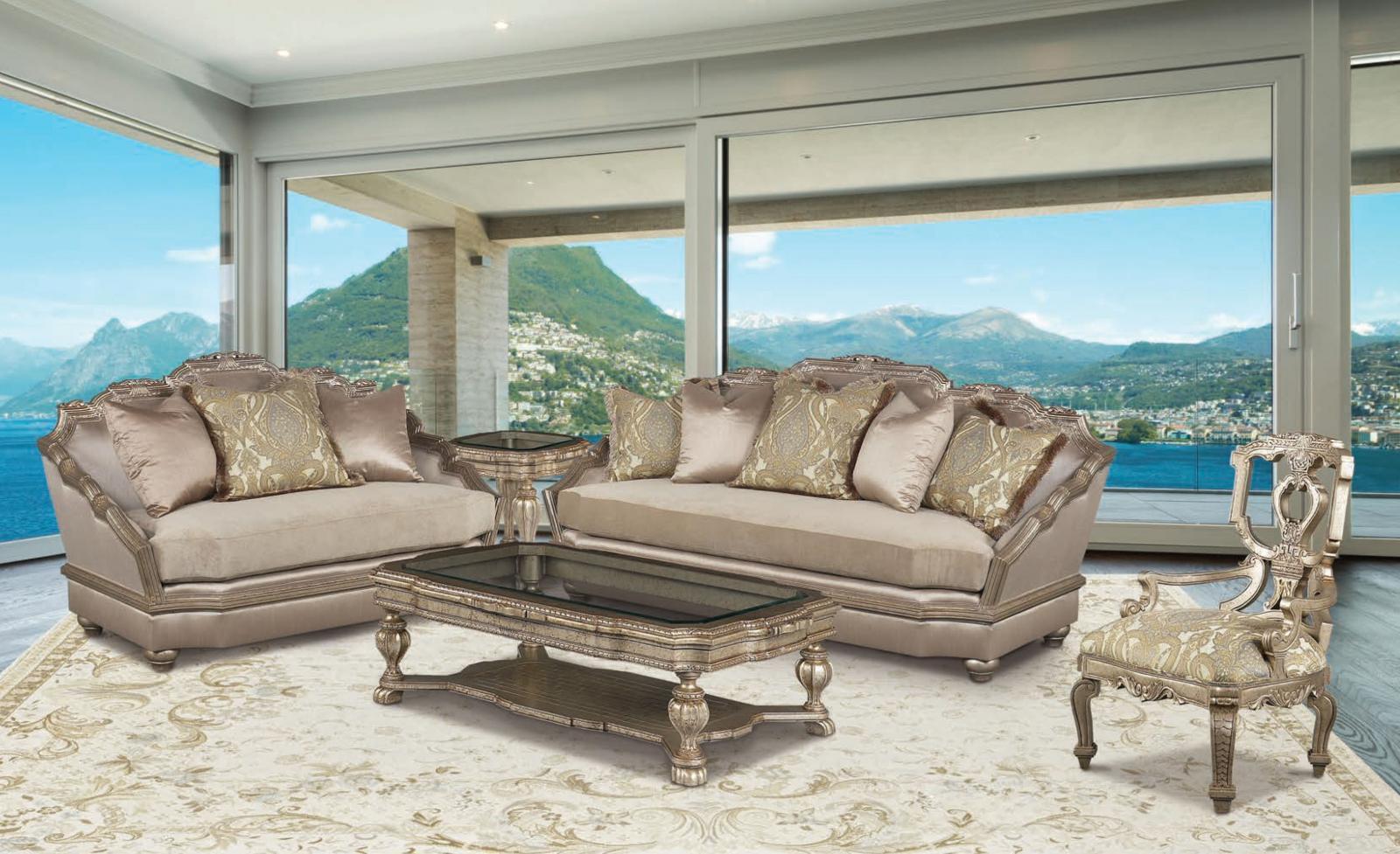 Benetti S Valentina Luxury Silver W Gold Accents Chenille Sofa Set