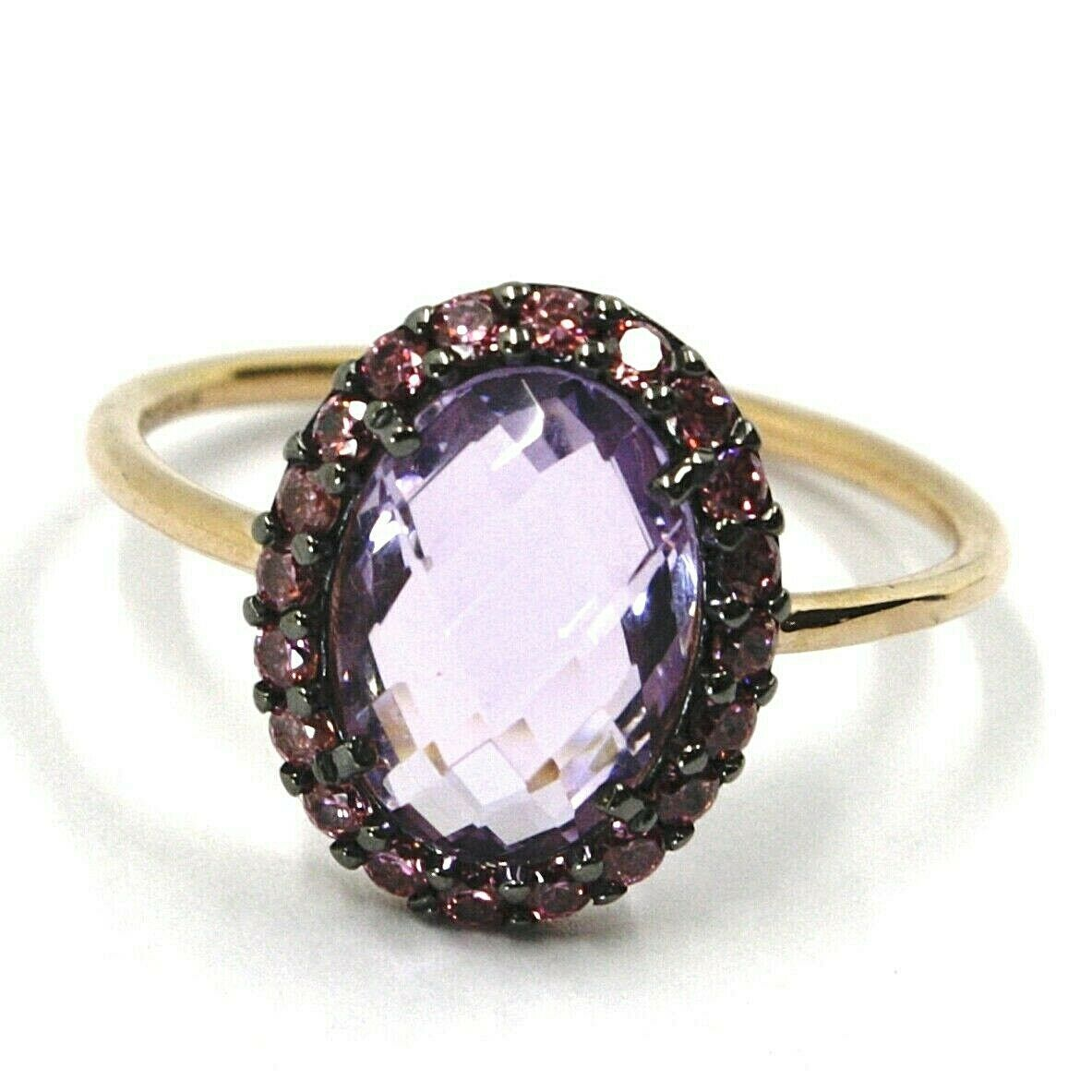 18K ROSE GOLD FLOWER RING PURPLE CUSHION OVAL CRYSTAL, CUBIC ZIRCONIA FRAME