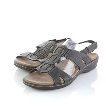 Clarks Collection Black Leather Slingback Sandals Shoes Hook Loop Womens 11 M - $29.57