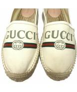Logo GG logo Natural Canvas Espadrilles Flats Wedge Shoes 38.5 - $339.99
