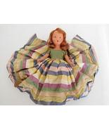 Vintage Nancy Ann Storybook NASB Bisque Red Hair in Multi-Stripe Taffeta... - $16.99