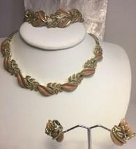 Vintage Coro Jewelcraft Parure Pink Green Enamel Necklace Bracelet Earrings - $96.74