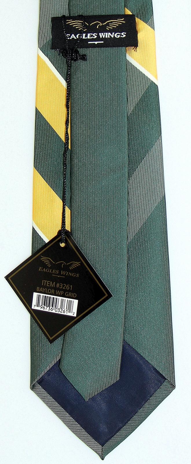 Baylor Bears Mens Necktie College University Logo E. Wings Grid Green Neck Tie  image 3