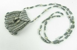 Vintage Miniature Micro Beaded Necklace Purse Silver Tone Fairy Angel Hand Made - $28.00