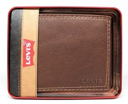 NEW LEVI'S MEN'S PREMIUM LEATHER CREDIT CARD ID WALLET BILLFOLD BROWN 31LV1344 image 3