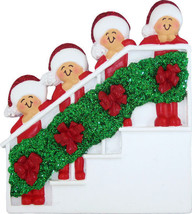 Family of 4 Four People on Stairs Bannister Christmas Tree Ornament Gift... - $14.62