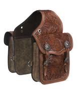 Tough 1 Leather Floral Oak Leaf Tooled Horse Saddle Bag Medium Oil U-33-0 - $128.69