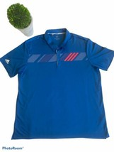 "ADIDAS BLUE GRAPHIC GOLF POLO SZ 2XL ""PREOWNED"" GENTLY USED - $18.99"