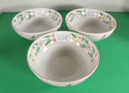 Herend Hungary Village Pottery Blue TRELLIS Soup Cereal Bowl (s) LOT OF 3 Floral - $39.55