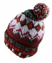 Chamula Unisex Double Cuff Brown Multi Merino Wool Fair Isle #5 Pom Beanie NEW image 2