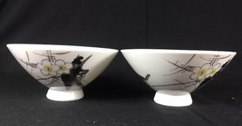 Vintage Japanese Hand Painted Watercolor Raven Blossom Porcelain 2 Rice ... - $23.01